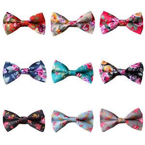 Men-039-s-Floral-Flowers-Adjustable-Bow-Tie-Cotton-Pre-tied-Wedding-Party-Bowtie