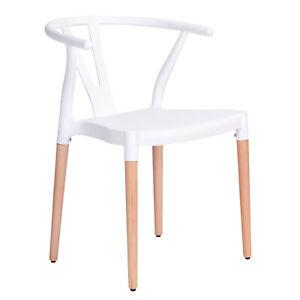White Wishbone Scandinavian Lounge Modern Plastic Dining Chair With Wooden Legs Ebay