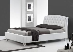 polsterbett bett doppelbett ehebett wei 160x200. Black Bedroom Furniture Sets. Home Design Ideas