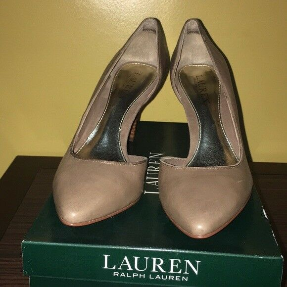 Ralph Lauren Rube 9 PM DRS Porcini Brown Beige D'Orsay Pointed Toe Pumps Leather