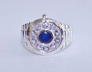 GENUINE-RARE-1-64tcw-Tanzanite-amp-Sapphire-Men-039-s-Ring-Solid-S-Silver-925