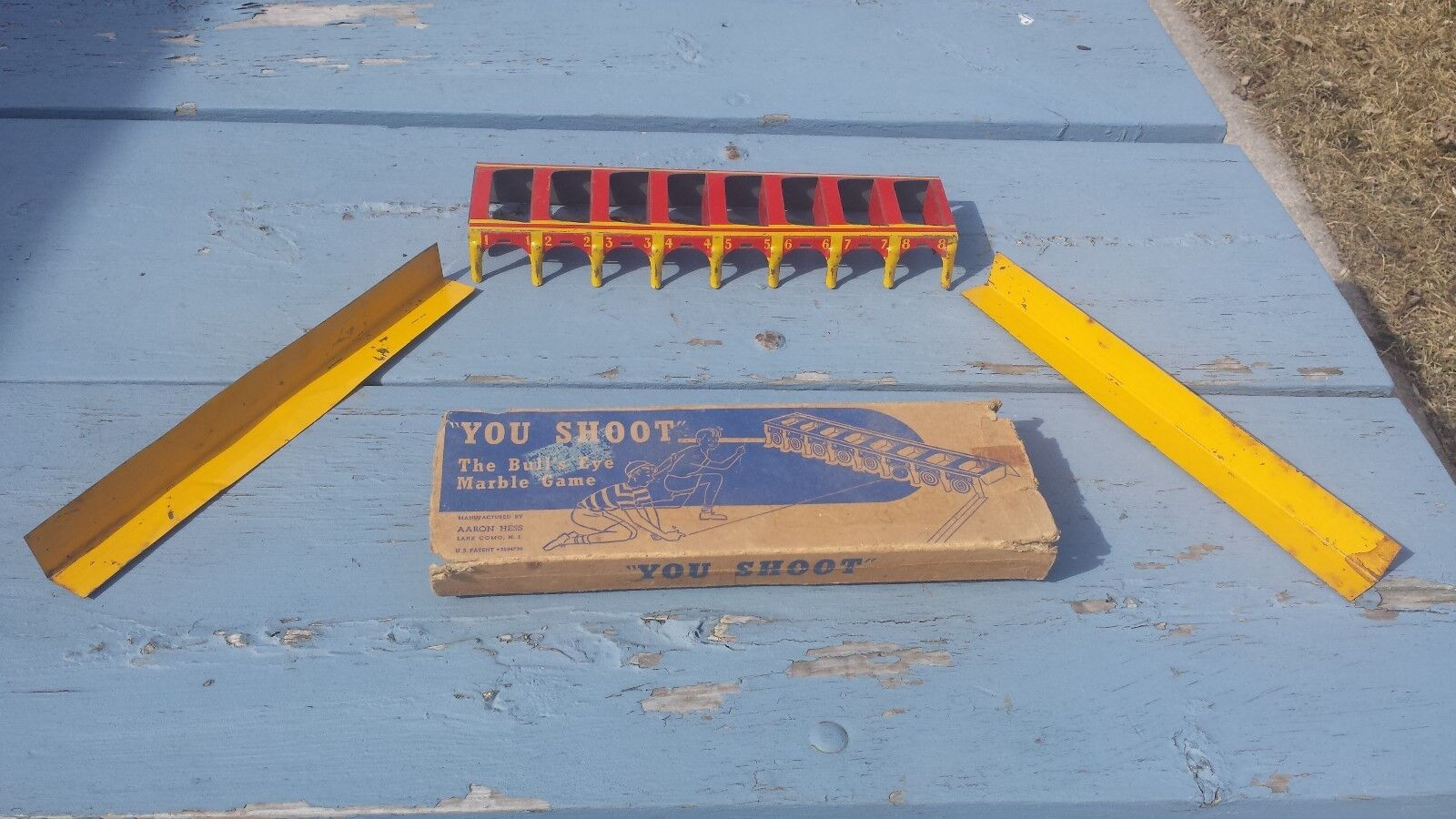 Vintage 1920's 1930's Aaron Hess You You Shoot Marble Bull's Eye Game With Box Tin