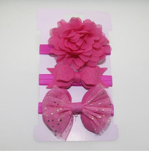 3pcs Kid Girl Baby Toddler Bow Headband Hair Band Accessories#/%