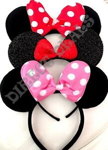 3 Minnie Mouse Ears Headbands Silver Black Plush Pink Red Polka Dots Party Favor