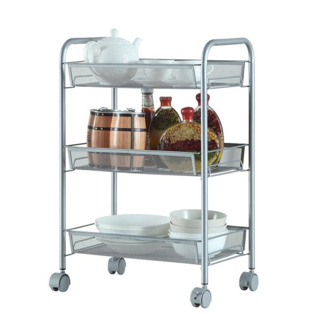 Genial Metal Mesh Storage Rolling Cart W/ 3 Tier Shelf Trolley Home Office  Organizer