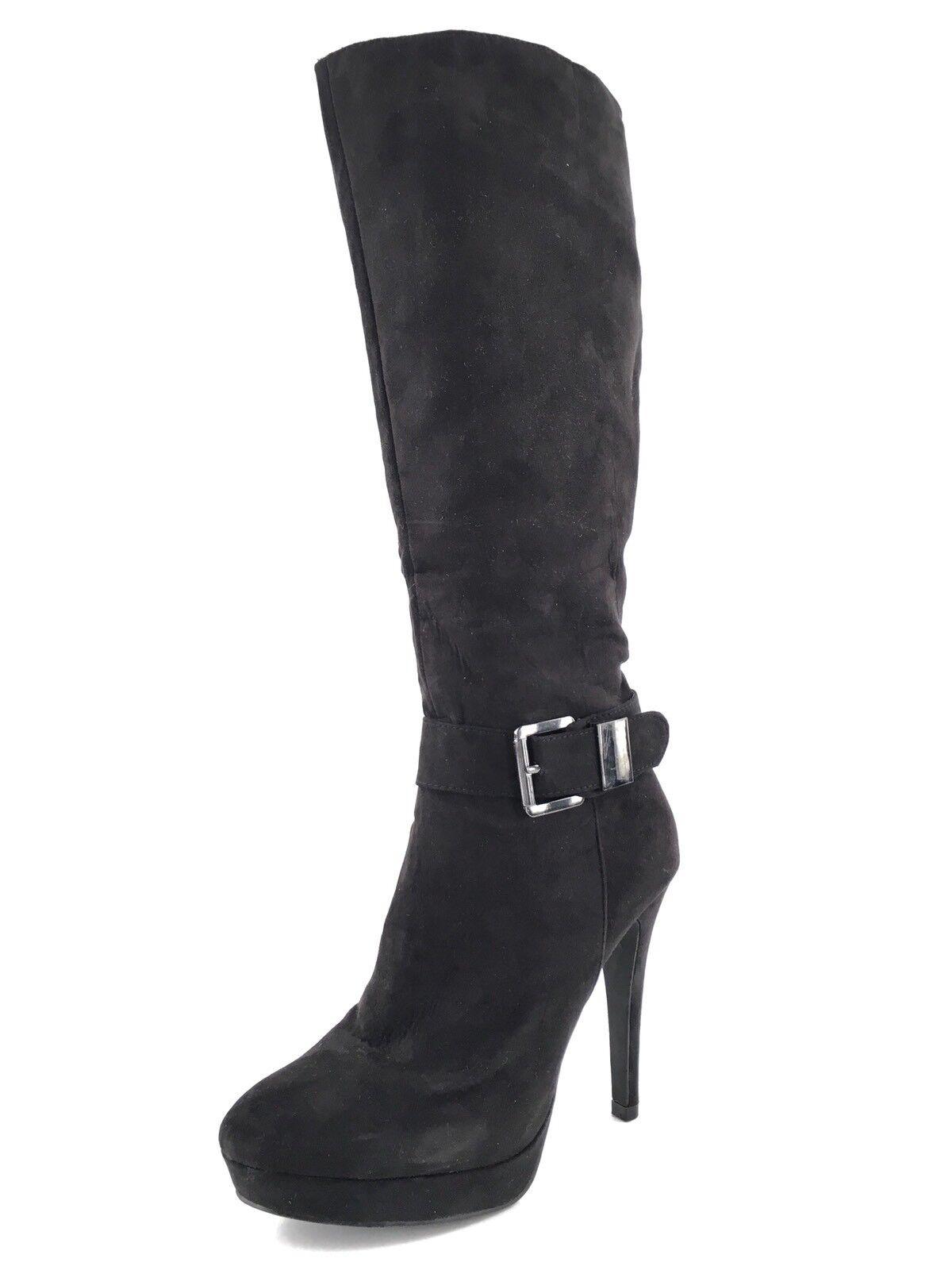 2 LIPS TOO Too Vista Black Platform Knee High Boots Women's Size 8.5 M *
