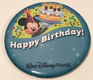 Stupendous Walt Disney World Parks Blue Celebration Happy Birthday Button Funny Birthday Cards Online Alyptdamsfinfo