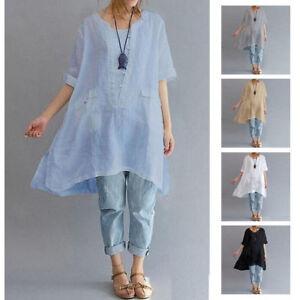 03b577a611e Women Summer Short Sleeve Irregular Cotton Linen Tops T-Shirt Blouse ...