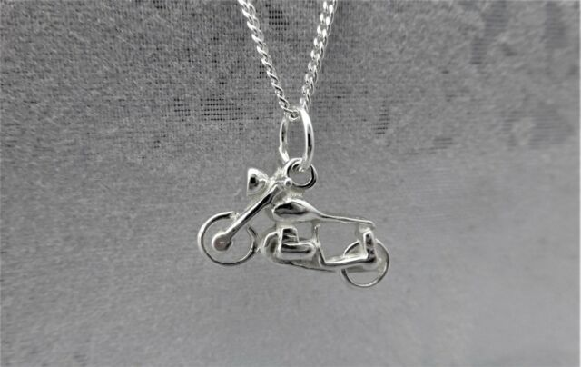 """Sterling Silver (925)  Solid 3D Charm """"Motorbike"""""""
