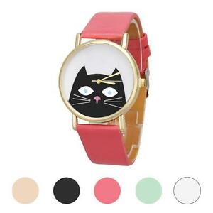 Fashion-Analog-Quartz-Watch-Women-Laides-Cat-Faux-Leather-Band-Dress-Wrist-Watch