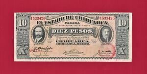 SCARCE-ERROR-DI-OBV-OP-MEXICO-UNC-10-Pesos-1915-Chihuahua-Note-Series-N-P-S535