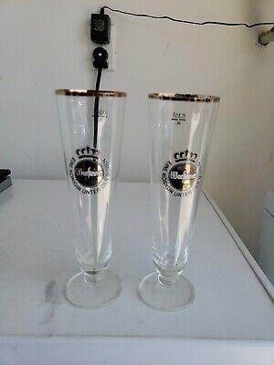 Lot of 2 Warsteiner German Beer Bier Footed Pilsner Style Beer Glasses .3L NOS