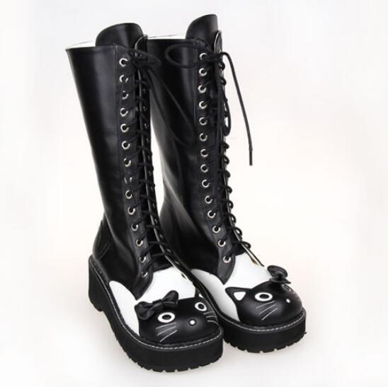 Fashion Women Cute Girl Sweet Lolita Shoes Bowknot Lace up Winter Knee HIgh Boot