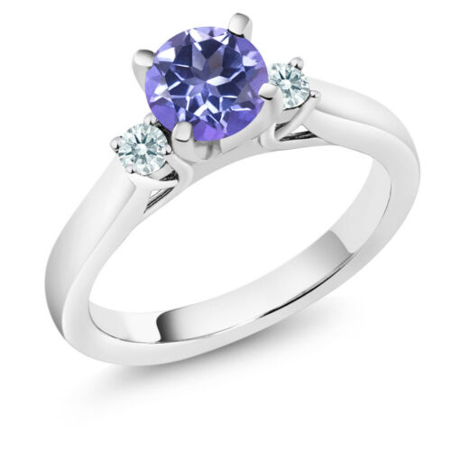 1.22 Ct Round Blue Mystic Topaz 925 Sterling Silver 3-Stone Engagement Ring