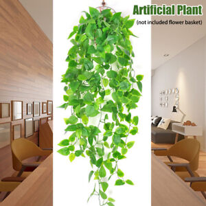 Wall Hanging Scindapsus Aureus Fake Leaves Gift Home Decoration Artificial Plant Ebay