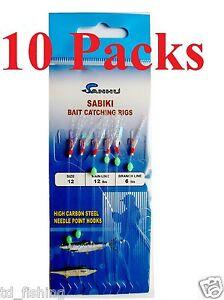 10 Packs size 12 Sabiki Bait Rigs 6 Hooks With Fish Skin Saltwater Fishing Lures