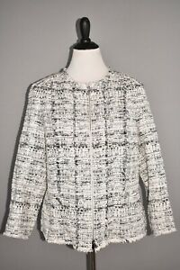 LAFAYETTE 148 NEW YORK NEW $948 Noelle Tweed Jacket in Black Multi Size 14W
