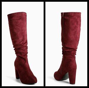 772d89c8251 Torrid Wine Burgundy Faux Suede Knee Boots Wide Width Extra Wide ...