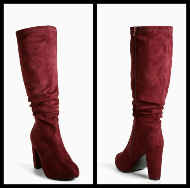 1e43d49f310 Torrid Wine Burgundy Faux Suede Knee Boots Wide Width Extra Wide Calf Sz 8   5054