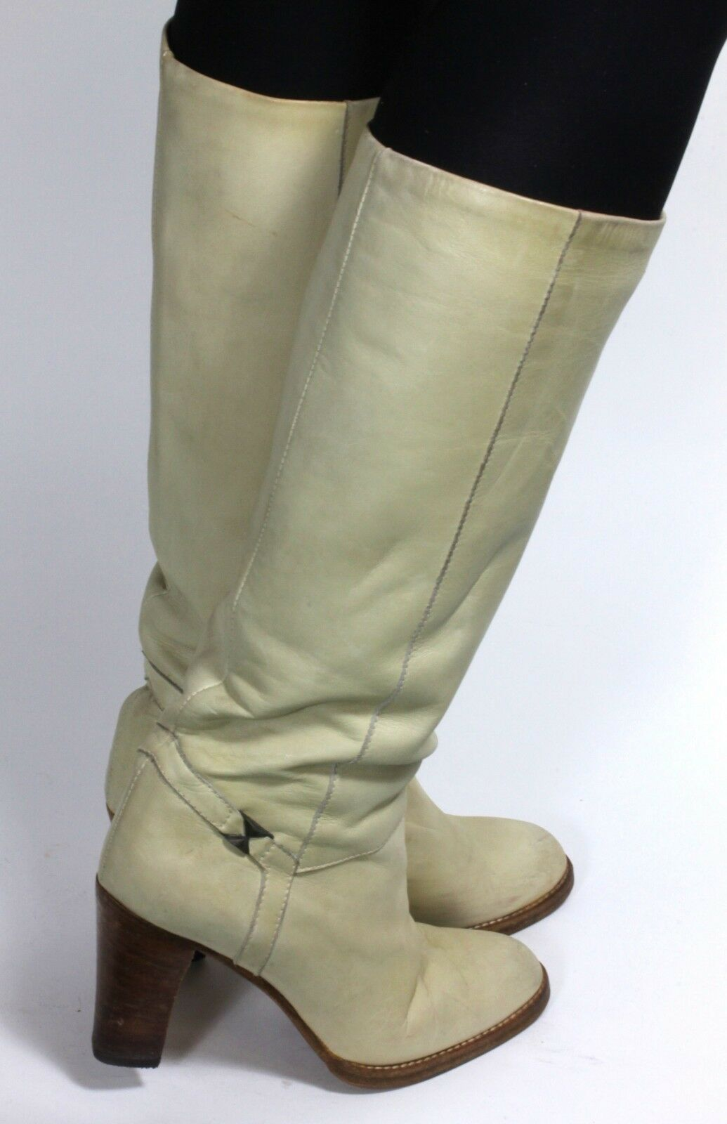 Damenstiefel Vintage Stiefel True Vintage Boots Beige Creme Zierriemen 70s 38