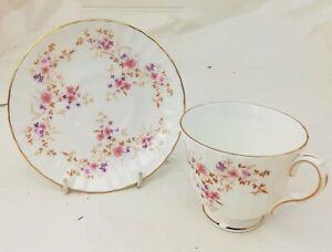 Duchess-Spinney-Teacup-amp-Saucer-Pink-Floral-Gold-Trim-England-Bone-China