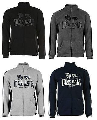 Mens Lonsdale 2 Stripe Full Zip Top Jumper Sweater Black Navy Grey S M L XL 2XL