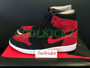 2c6a8aae996f Nike Air Jordan 1 Retro High Flyknit Bred 4Y-13 Black Red White ...