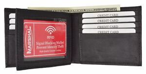 Marshal-Men-039-s-RFID-Blocking-Leather-Wallet-Multi-Card-High-Capacity-Bifold