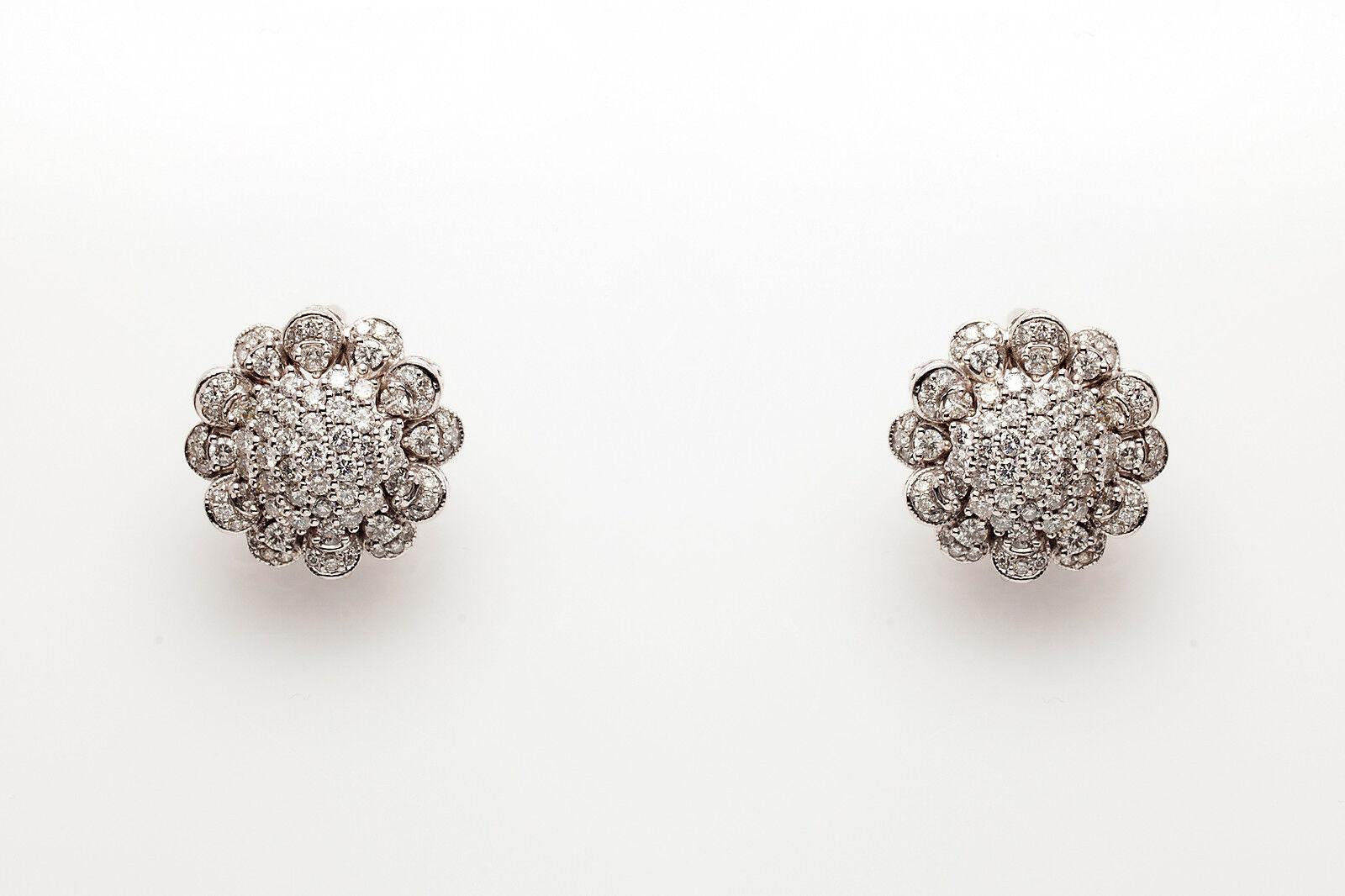 Estate  12500 Signed SONIA B 4ct VS G Diamond FLOWER LILY 14K gold Earrings