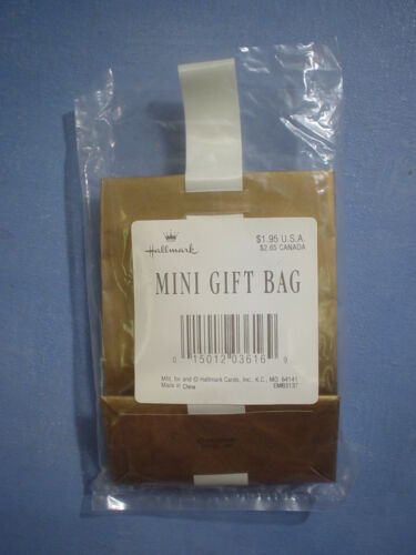 Hallmark Mini Gift Bags Gold Damask with White Flower Bud and Ribbon Set of 6