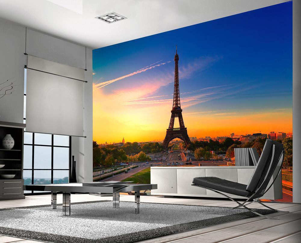 Eiffel Tower Paris Photo Wallpaper Woven Self-Adhesive Wall Mural Art M79