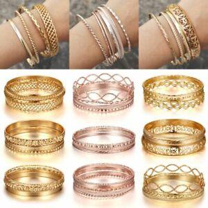 Women-Boho-Hollow-Flower-Gold-Rose-Gold-Bracelet-Set-Statement-Bangle-Jewellery
