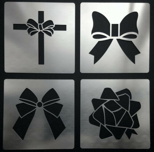 Pretty Ornate Ribbon Floral Parcel Bows Stainless Steel Stencil Templates 4.5cm