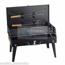 Briefcase Portable Indoor Outdoor Picnic BBQ Barbecue Charcoal Grill with Stand