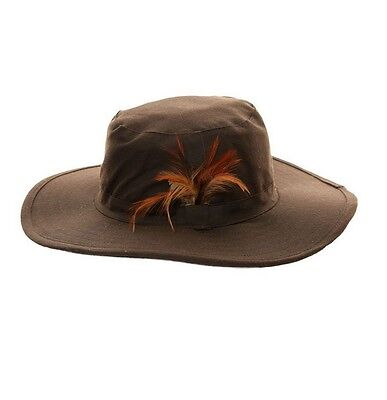 Wide Brim Australian Style Hat Unisex Feather Trim Showerproof Wax Bush Rain Hat
