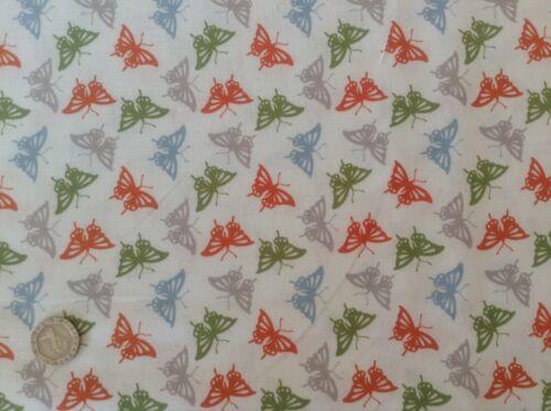 Moda Serenade Butterflies Orange Green Cotton Quilting Fabric FQ 50cm x 54cm