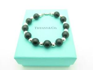 Tiffany-amp-Co-Sterling-Silver-Black-Onyx-Bead-Ball-Bracelet-7-5-034-Box