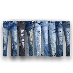 MENS-JEANS-biker-DENIM-Fashion-ZIPPER-ripped-SLIM-Fit-Biker-Distressed-PANTS