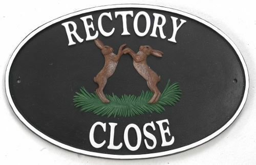 Boxing Hares  Cast Iron-Effect House Name Sign