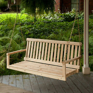 Details About Wooden Porch Swing 4ft Natural Wood Patio Outdoor Yard Garden Bench Hanging New