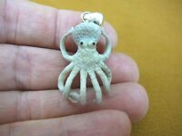 (j-octo-20) White 3d Octopus Carving Pendant Of Moose Antler Octopi Octopuses
