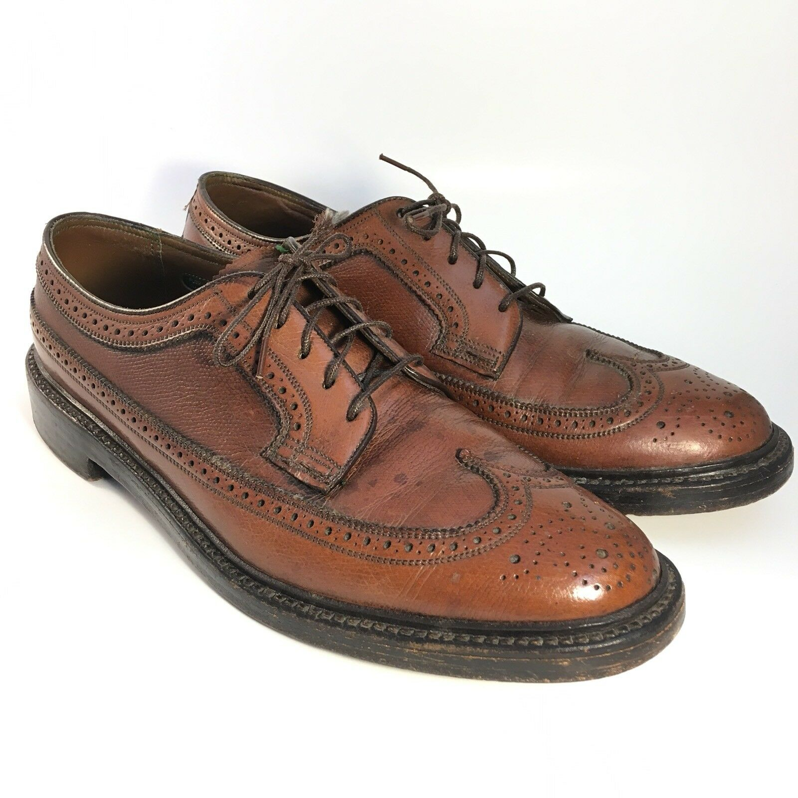 Vintage Marron Florsheim Imperial Kenmoor V  Cleat 5 ongles 93602 Bout D'Aile 9 B Lacets