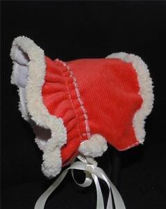 New Handmade Hunter Green Brushed Corduroy Fleece Lined Baby Bonnet