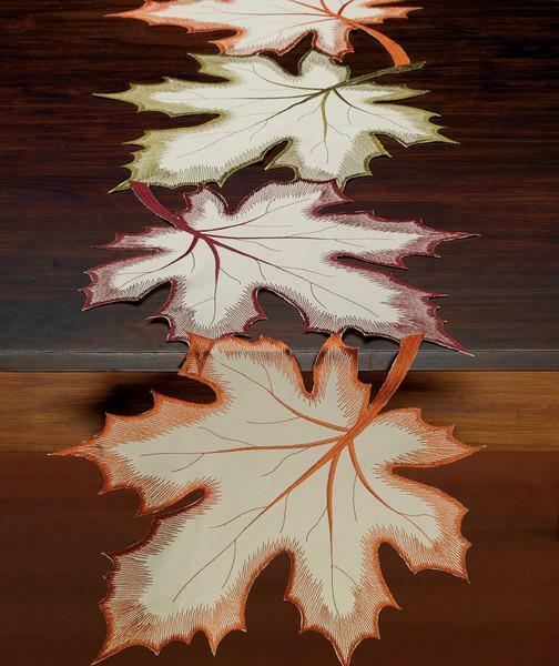 """Autumn Fall MAPLE LEAVES Embroidered Table Runner 14"""" x 60"""""""