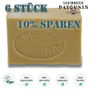 27-59-EUR-kg-6-x-Patounis-Olivenoelseife-Vegan-ohne-Zusatzstoffe-540gr
