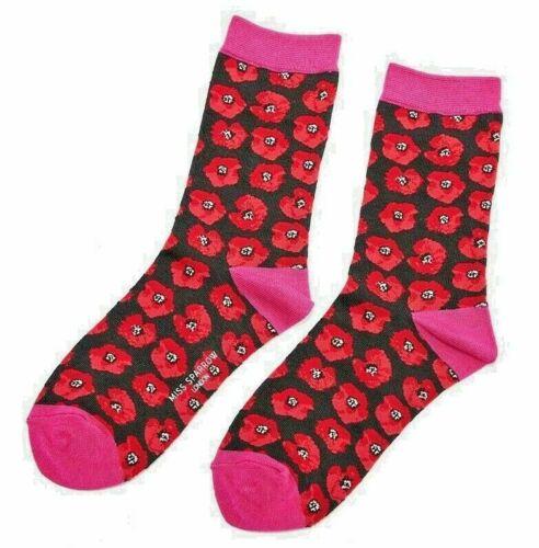 Ladies Design Socks Poppy Poppies Flower Novelty Miss Sparrow 4-7