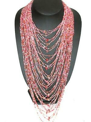 """OPULENT 40 STRAND PINK FRAMBOISE CLEAR LAYERED 26/"""" BEAD necklace"""