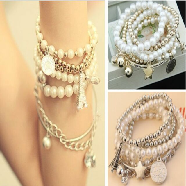 Fashion Jewelry Womens Unique Gold Metal Pearl Multilayer Pendant Bracelet