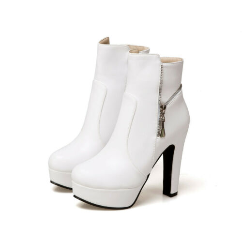 Womens Zipped Candy Ankle Boots Prom Booties Stylish Pumps High Heels Shoes