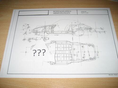 Maßplan gruppo pavimento modello Porsche 912